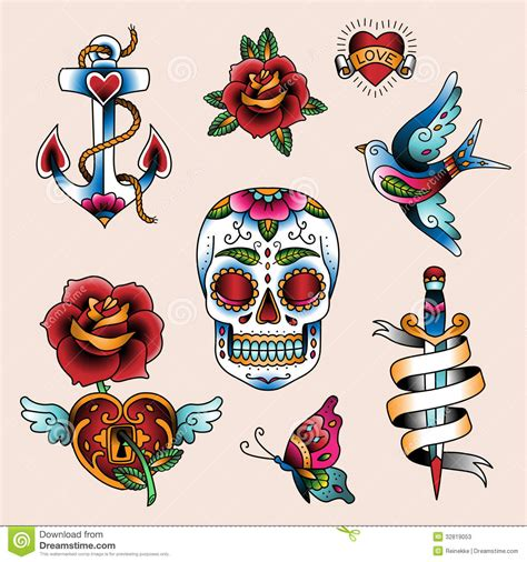 tattoo set stock vector illustration of heart element