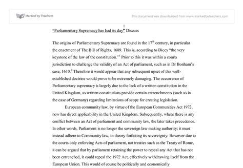 public law essay parliamentary supremacy