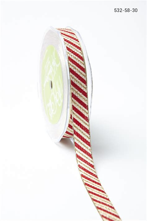 outdoor candycane ribbon 5 8 inch ribbon with metallic edge may arts wholesale ribbon