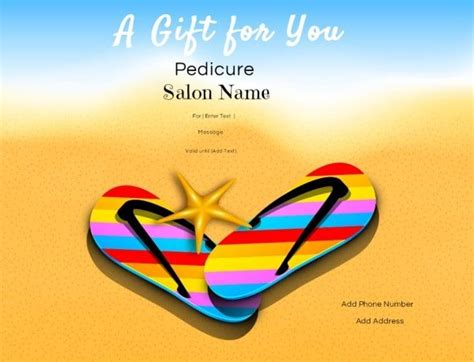 pedicure gift certificate template nail salon gift certificates