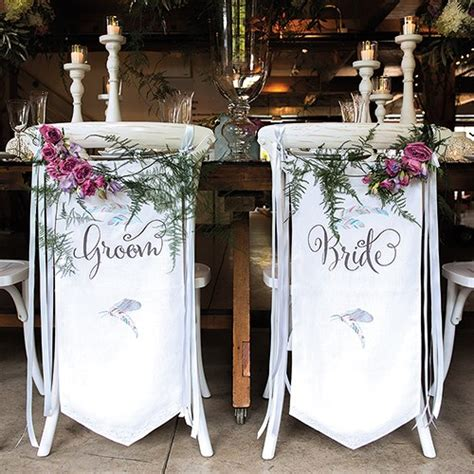 And Groom Chair by Feather Whimsy And Groom Chair Banner Set Weddingstar
