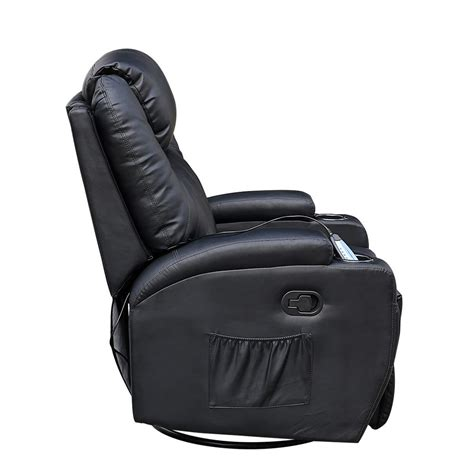 Cinemo Black Leather Recliner Chair Rocking Massage Swivel Leather Swivel Rocker Recliner Chair
