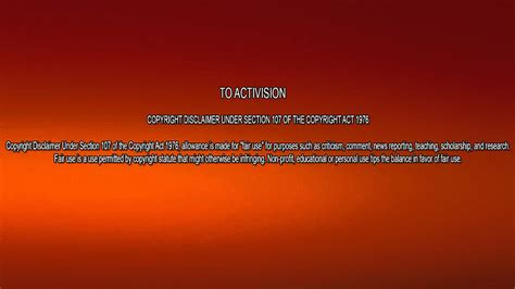 activision treyarch studios copyright disclaimer