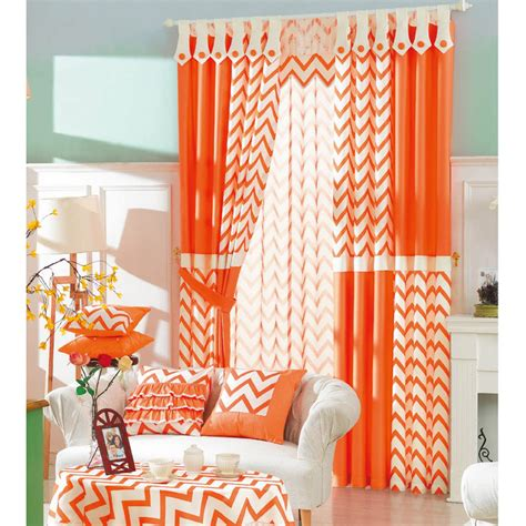 orange chevron curtains modern brief ready made orange and white striped chevron