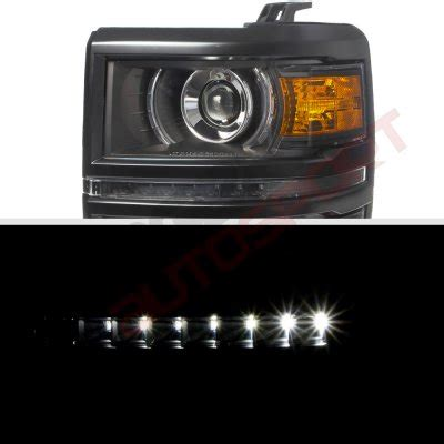 2014 Silverado Led Light Bar Chevy Silverado 1500 2014 2015 Black Drl Projector Headlights Led Lights Light Bar
