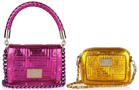 Versace Metallic Jacquard Snap Out Of It Bag by Versace Fuchsia And Gold Metallic Leather Shoulder Bags