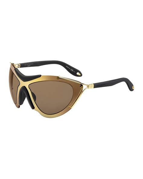 Givency Black For Light Mask by Givenchy Acetate Mask Sunglasses In Brown For Gold