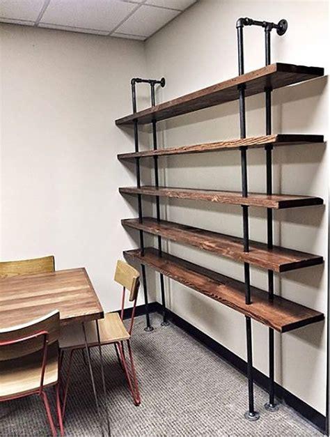 reclaimed wood shelves elegant industrial pipe shelving