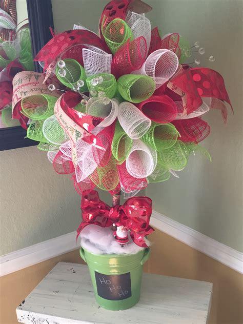 deco mesh topiary christmas tree with burlap merry
