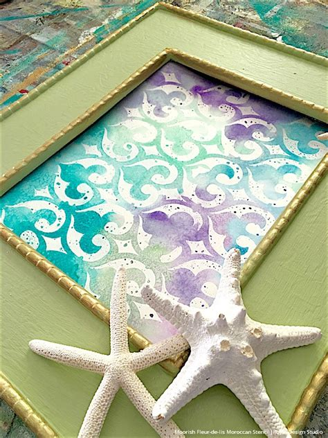watercolor pattern tutorial paint watercolor wall art with stencils paint pattern