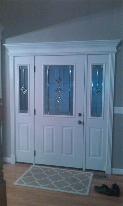 Entry Door With White Door Interior Crown Molding Front Door Crown Molding