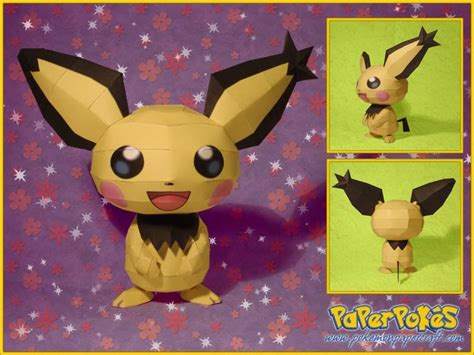 Pichu Papercraft - paperpok 233 s pok 233 mon papercraft pikachu colored and spiky