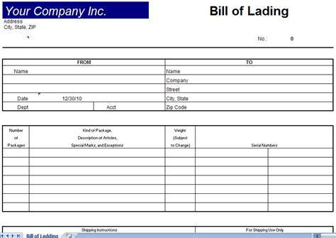 bill of lading template bill of lading form