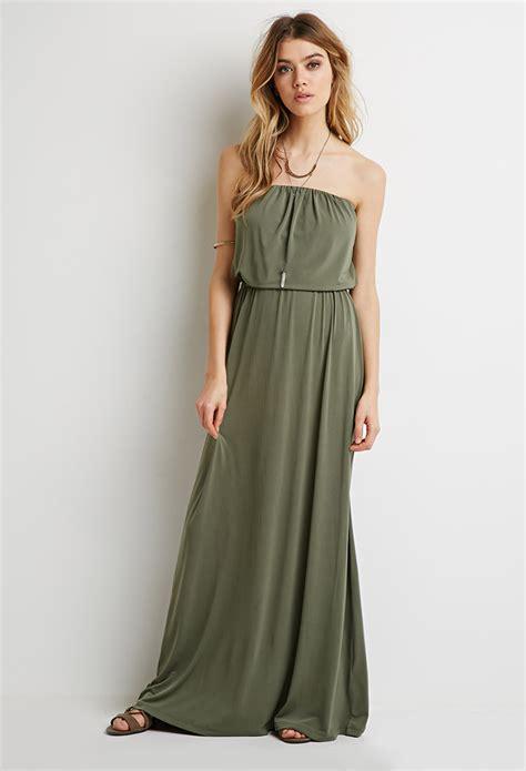 Dress Aliysha Syari Maxi 2 forever 21 strapless maxi dress in green lyst