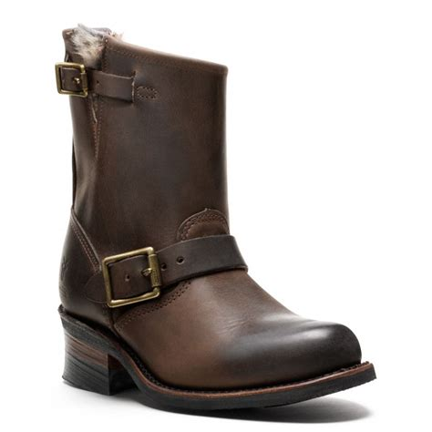 coach frye for coach fur lined engineer boot in brown lyst