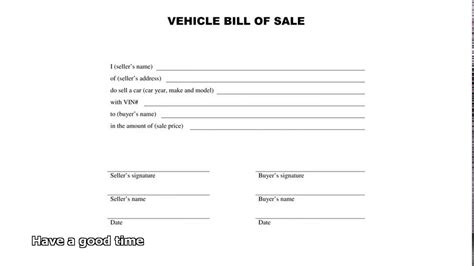 sle car bill of sale bill of sale car