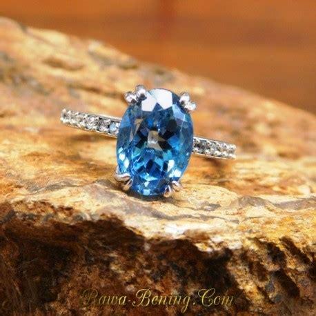 Emas Putih 14k 2 cincin emas wanita 14k permata swiss blue topaz size 6us