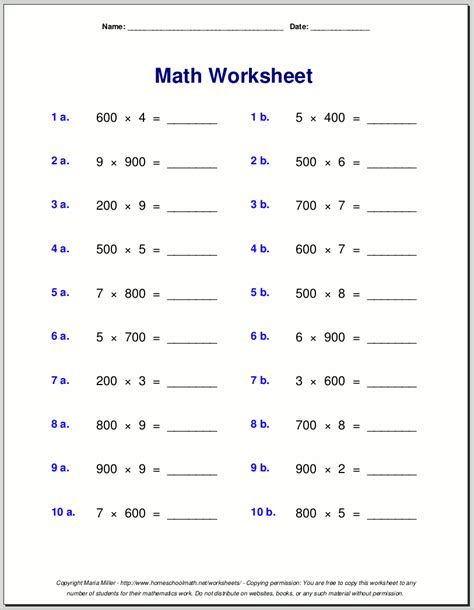 Math Worksheets 4 by 2 Digit Multiplication Worksheets Grade 4 2 Digit By