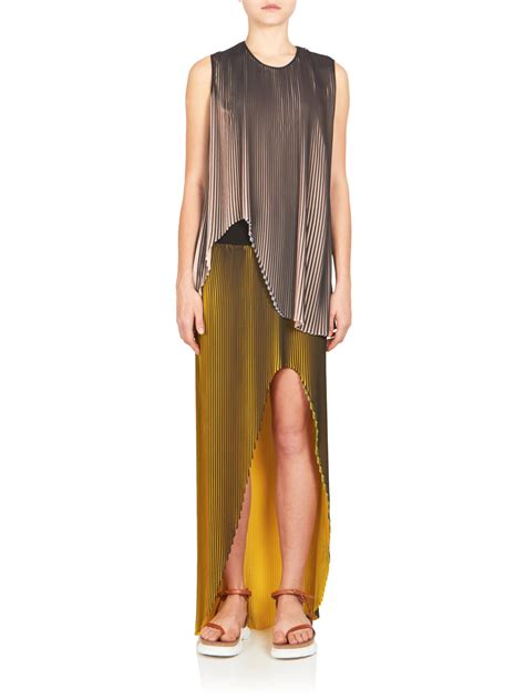 stella mccartney high slit plisse maxi skirt in green lyst