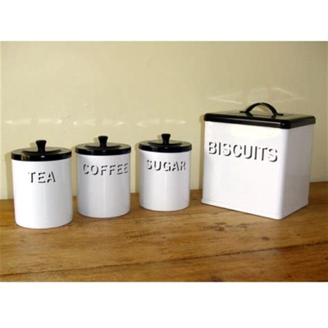 black and white kitchen canisters garden trading vintage white and black enamel biscuit bin
