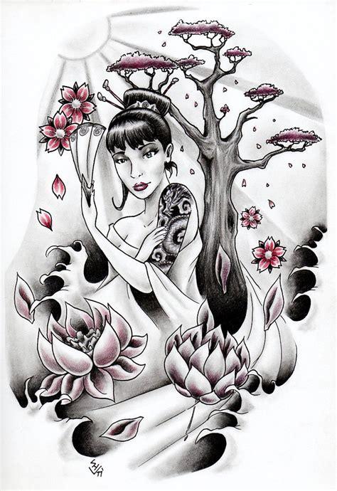 geisha lotus tattoo geisha and lotus flowers by hamdoggz on deviantart