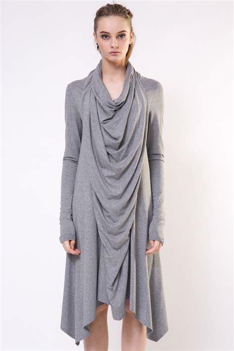grey draped dress gray draped dress diana paukstyte