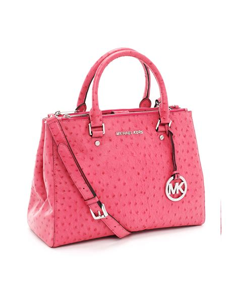 Michael Kors Tote Emboss Kombi lyst michael kors medium bedford ostrich embossed dressy tote electric pink ostrich in pink