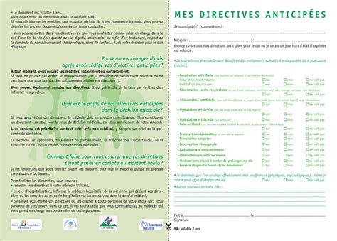 Directives Anticipées Modele De Lettre