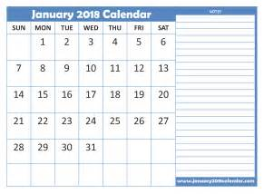 Calendar 2018 One Stop January 2018 Calendar