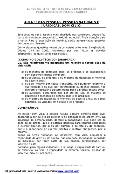 Direito civil exercicios