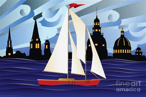 boat canvas annapolis annapolis skyline red sail boat digital art by joe barsin