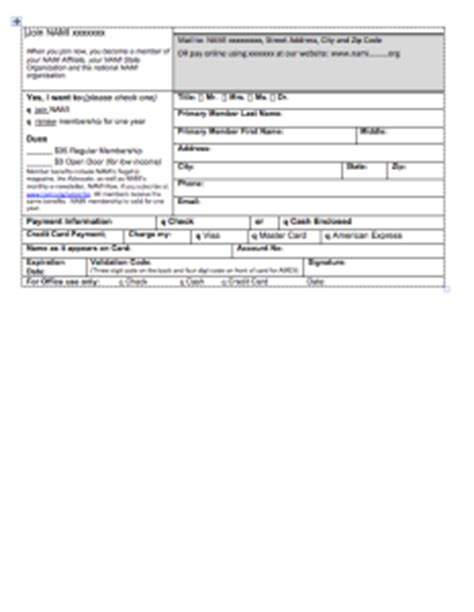 board member application template templates sle documents nami nami