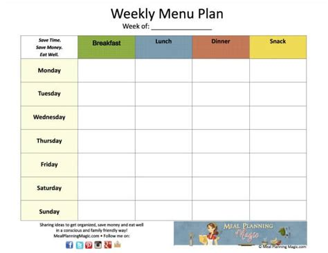home plan weekly free weekly menu plan grid printable