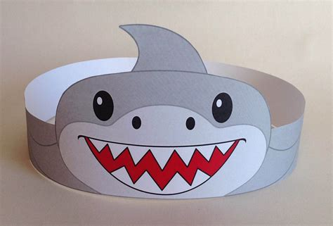 shark hat craft template shark paper crown printable shark