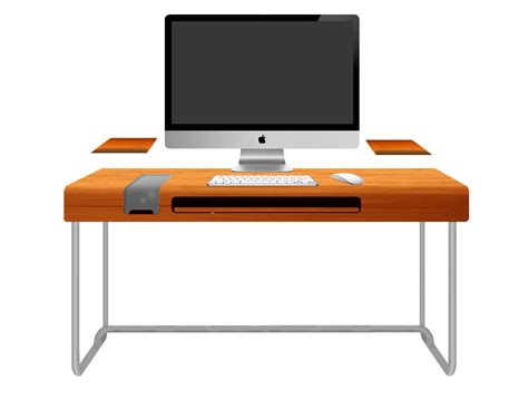 pc desk modern orange computer desk design with black keyboard and