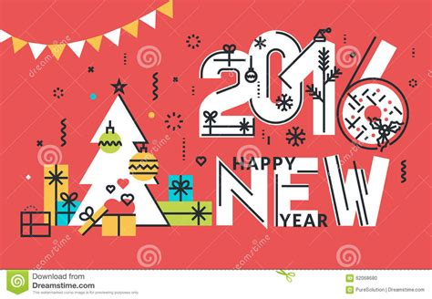 new year flat line design concept for greeting card stock
