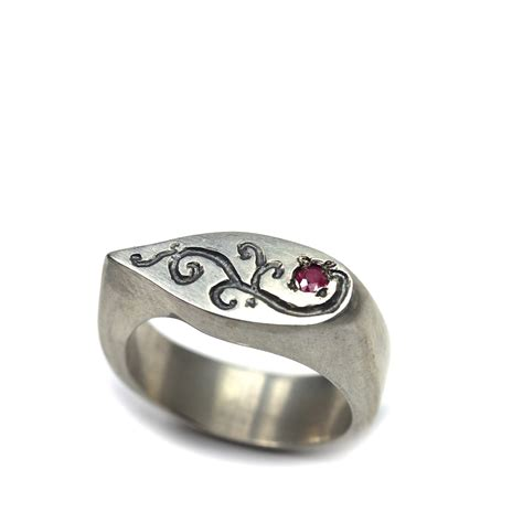 silver rings for women women s sterling silver ruby signet ring ruby vine
