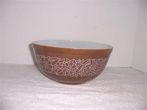brown pattern dinnerware pyrex woodland pattern brown mixing bowl triple a resale