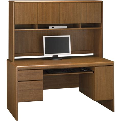 Computer Credenza Desk Bush Northfield 54 Quot Credenza Computer Desk With Hutch Dakota Oak Walmart