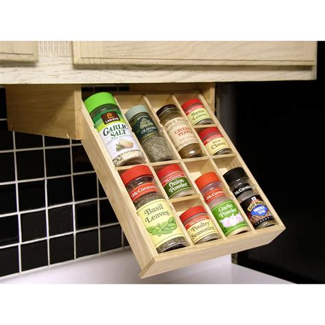 spice rack organizer axis international 8 compartment natural wood under the