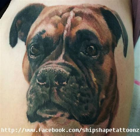 boxer dog tattoo by matt realismo