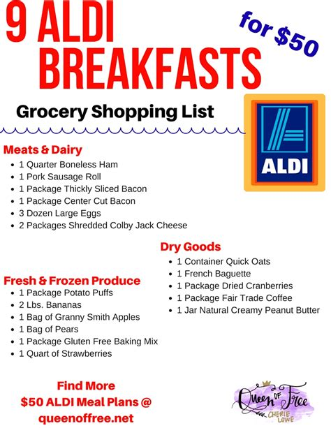 aldi printable shopping list 50 aldi breakfast meal plan queen of free