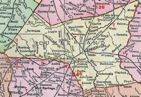 Cumberland County Nc Search Cumberland County Carolina 1911 Map Rand Mcnally Fayetteville Mills