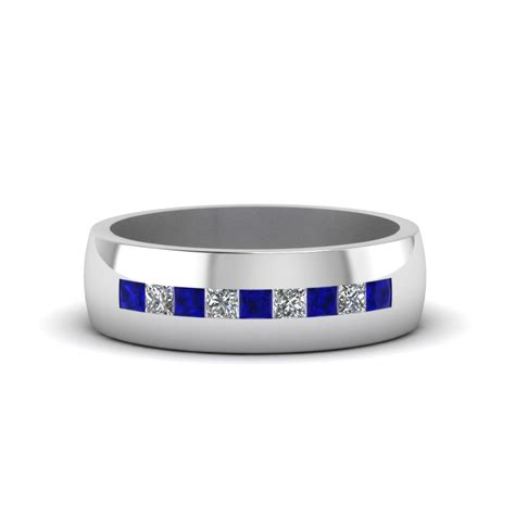 channel set princess cut diamond band  men  blue