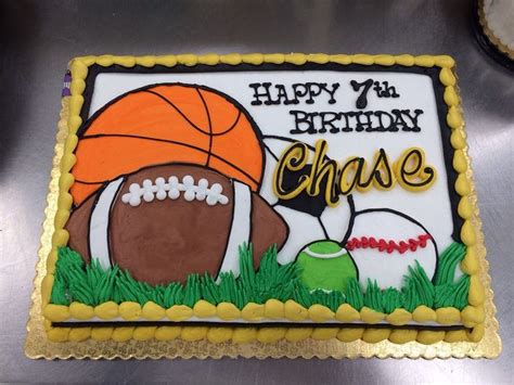 sports themed cake decorations sports theme birthday cake by dillon ls1 hy vee