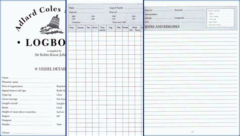 See Main Content Pages Vessel Logbook Template
