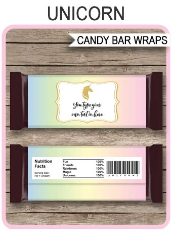 unicorn hershey candy bar wrappers unicorn theme party