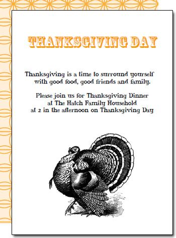 Free Printable Thanksgiving Dinner Invitations Free Thanksgiving Invitation Templates