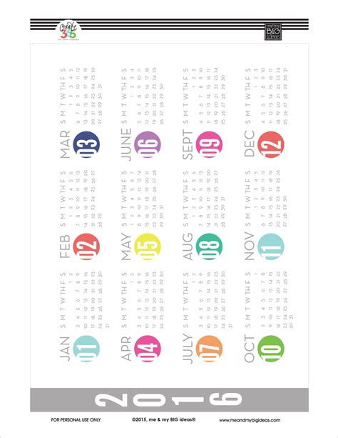 free printable year planner for 2016 8 best images of calendar 2016 printable year at a glance
