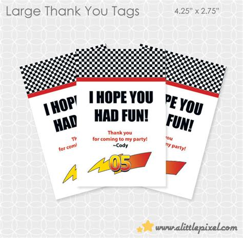 lightning mcqueen thank you cards printable party printable lightening mcqueen ish party theme thank you